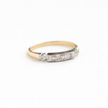 Vintage 14k Yellow & White Gold Diamond Wedding Band Ring - Art Deco 1930s 1940s Size 6 Fine Engagement Bridal Jewelry