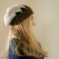 Womens Slouchy Beanie- Olive Green/Brown