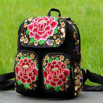 ONETOW Day-First? Canvas Ethnic Embroidered Backpack Travel Bag
