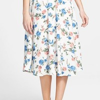 Junior Women's Soprano Floral Print Midi Skirt,