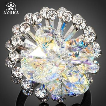 AZORA Fascinating Color Gradient Flower With Stellux Austrian Crystal Adjustable Size Ring TR0134