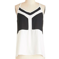 ModCloth Colorblocking Spaghetti Straps Black and White Movies Top