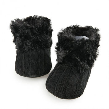 Baby Girls Soft Sole Fur Warm Snow Boots Crib Shoes