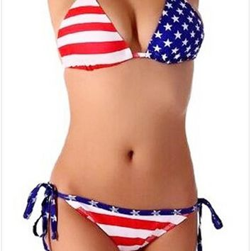 2017 New Women Swimwear American Flag Bikini Sexy Stars and Stripes Swimsuit US 4th of july Women Halter Top Bathing Suit