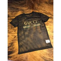 GUCCI Popular Unisex Loose Letter Print Net Yarn Short Sleeve T-Shirt Top Black I-CN-CFPFGYS