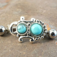 Southwestern Green Turquoise Eyebrow Ring Rook Ear Piercing