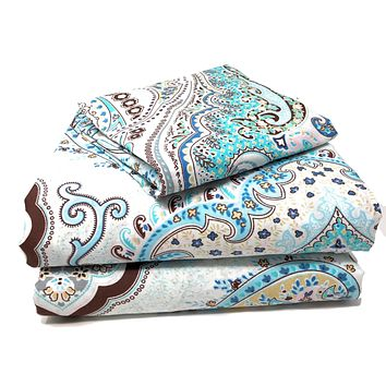 Tache Frozen Forest Cotton Blue Paisley Fitted Sheet (2172FIT)