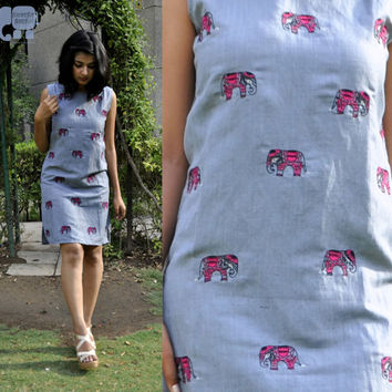grey linen dress- linen shift dress- elephant motif dress- Indian motif dress-summer dress- casual dress- cute  dress-made to order dress