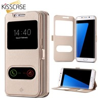 KISSCASE Smart Answer Case For Samsung Galaxy S7 S7 Edge Flip Stand Full Coverage Luxury Magnetic Case for Galaxy S7 S7 Edge