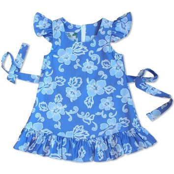 Kailua Blue Hawaiian Girl Cotton Dress