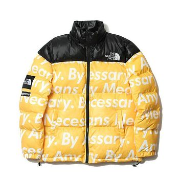 The North Face Supreme Fashion Down Jacket Cotton Coats Yellow