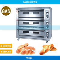 Gas Baking Oven - 3 Decks, 9 Trays, all S/S, 350℃, Tray Size: 600*400 MM, TT-O85