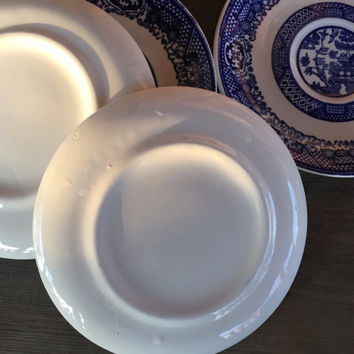 6 vintage Blue Willow transferware saucers, dessert plates, Mid century kitchen dishes, Homer Laughlin blue and white transfer ware plates,