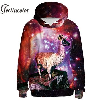 Feelincolor New Fashion 3D Hoodies Men/Women Sweatshirt Galaxy King Llama Hoodies Men Street Style Couples Hooded with Hat Top