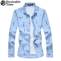 Men Sky Blue Shirts Fashion New Casual Striped Shirt Men