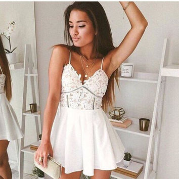 White lace V Neck Chiffon Homecoming Dress, Mini Summer Homecoming Dress