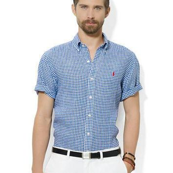 Polo Ralph Lauren Classic-Fit Short-Sleeved Checked Linen Sport Shirt