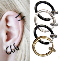 Gothic Clip On Hoop Ear Boby Nose Lip Piercing Ring Stud Wind Style Fake Earrings Stud Hoop