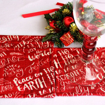 Christmas Coasters, Quilted Fabric Coasters, Red Reversible Coasters, Mug Mats with Text, Beverage Mats, Set of 4 Coasters, Quiltsy Handmade