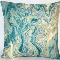 """Aqua Marble Pillow, 17"""" Square Cotton Bark Cloth in Blue Green Cream Tones with Zipper Cover or Insert Included, Ready Ship"""