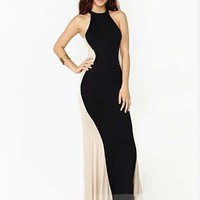 Ebuytide Women's Sexy Stitching Halter Bodycon Cocktail Maxi Dress