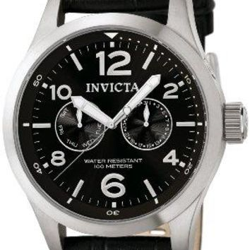 Invicta II Stainless Steel Watch with Black Leather Band