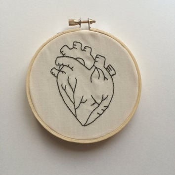 Human Heart Embroidery in Hoop