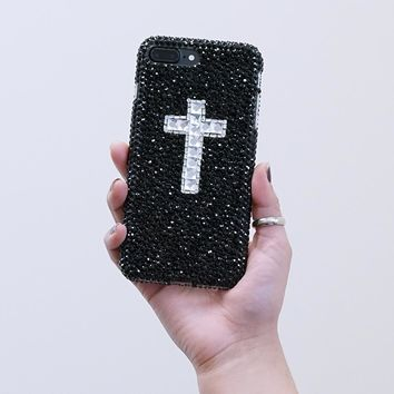 Jet Black Crystals with Clear Cross Design (style 903)