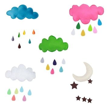 Cute Kids Play Tent Decoration Tent Props Toy Raining Clouds Water Drop/Star Moon Baby Bed Room Hanging Decor Wall Stickers