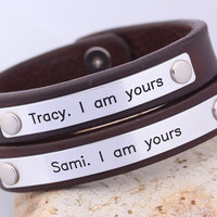 Customized Matching Couple Bracelets - Two (2) Leather Bracelet - His Hers Bracelet - Friendship, Anniversary Gift