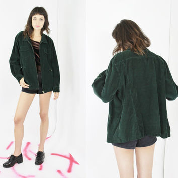 vtg 90s long sleeve shirt green corduroy top collared shirt grunge top 90s jumper oversized corduroy jacket MEDIUM LARGE m lrg