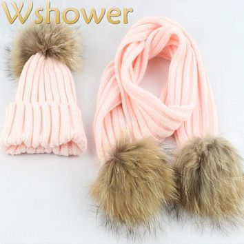 Which in shower Real Raccoon Fur Pompom Children Winter Hat Scarf Set Fur Pom Pom Ball Warm Knit Beanie Scarf For Kids Boy Girl