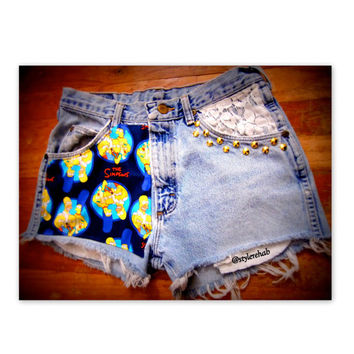 The Simpson's Jean Shorts. Free Shipping for the Holidays. Great gift for a Simpson's cartoon fan. Bart, Homer and more. Gold studs.