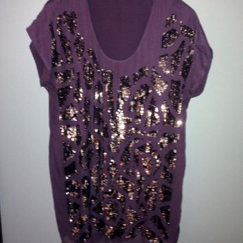 Purple And Gold Sequin Dress (Gold Hawk )