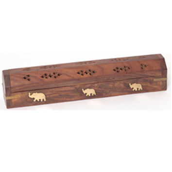 Incense Burner - Wooden Box with Storage - Elephant