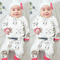 3Pcs Dreamcatcher Newborn Baby Girls Clothes Long Sleeve Tops Pants Leggings Hat Outfit Baby Girl Set Clothing