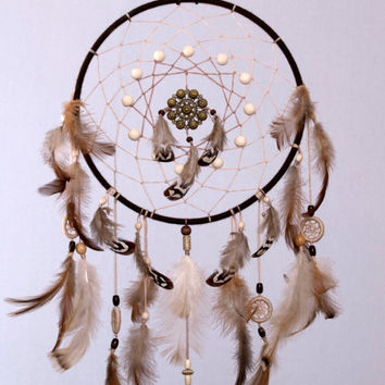 Brown Dream Catcher, Large  Dream Catcher, Dreamcatcher, Heavenly dream, handmade, wooden beads, feathers