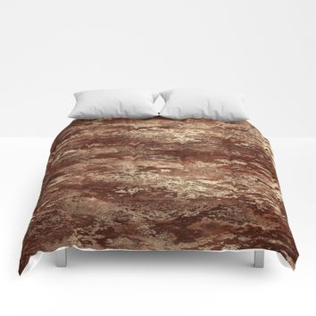 Brown wood bark texture Comforters by Natalia Bykova