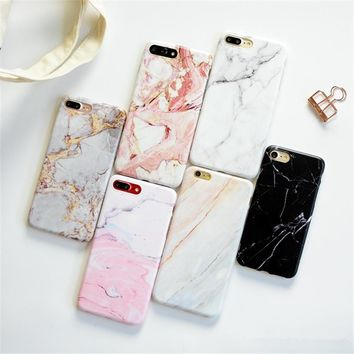 For iPhone 7 Plus case Simple Marble TPU Case for iphone 8 8Plus Scrub TPU case for iphone 6 6plus 7 Protective Phone shell