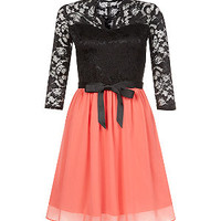 Orange Lace 3/4 Sleeve Colour Block Skater Dress