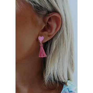 Bold Heart Earrings: Hot Pink