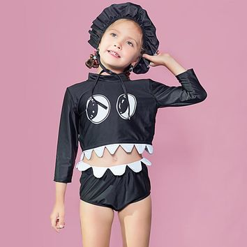 New Children Swimwear for girls Creative funny Girls Two piece Swimsuit kids Professional swimwears Animal black bathing suits