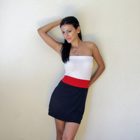 Navy blue, Red and White Strapless Dress - Free US Shipping - Donation to Unicef - Item MM-DRT10
