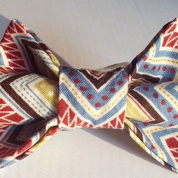 Blue Rustic Chevron Collar Bow Tie for Dogs and Cats