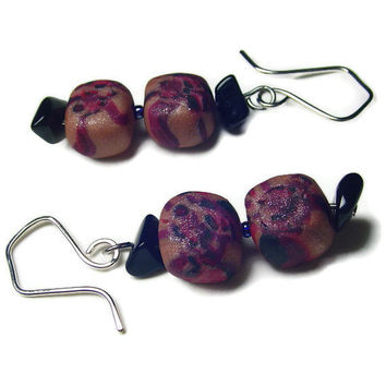 Pebbles Earrings Earthtone and Black Obsidian by BrandonArtists