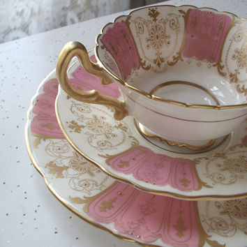 vintage English tea cup and saucer set, antique Royal Doulton bone china tea set trio, pink gold tea cup plate set