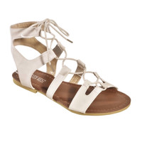 """Always My Style"" Lace Up Gladiator Ivory Sandals"