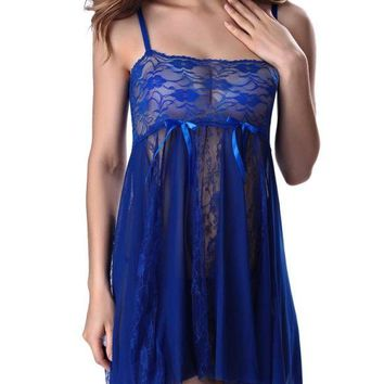 C| Chicloth Sheer Lace Strap Chemise with G-String Babydoll Lingerie Dress