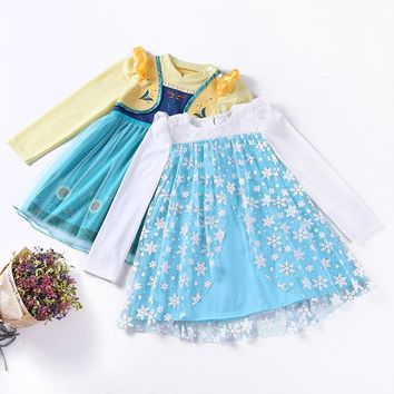 New Beauty Princess Dress With Snowflake Pattern Handmade Tulle Princess Dress Halloween Party Children Costume Vestido Cloth l