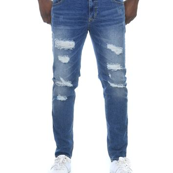 Men's Stretch Skinny Distressed Denim Jeans
